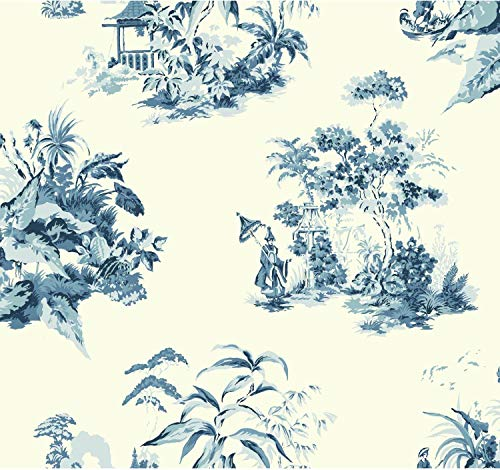 (York Wallcoverings AF1990 Ashford Toiles Oriental Scenic Removable Wallpaper Blue/White)