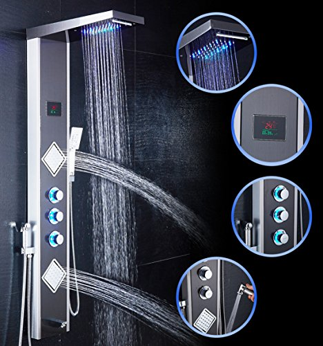 ELLO&ALLO LED Shower Panel Tower System,Rainfall Waterfall Shower Faucet Fixtures Bathroom Rain Massage System with Body Jets Brushed Nickel and Black