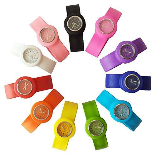 (HSW Slap on Watch Silicone Quartz Number Fashion Watch Sport Wrist Band fot Children Boy Girl Lady Women Men Unisex Snap Kids Watches (Small,)
