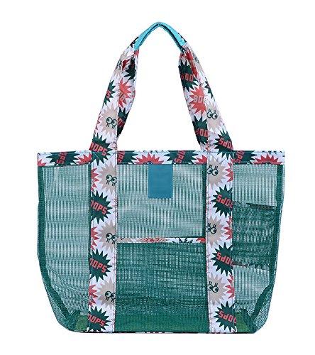 for 7'' Lightweight Green Tote Bag 77''x13 Women Beach Bag 77''x4 Mesh Large 13 Shoulder Organizer Youkara ST6qzT