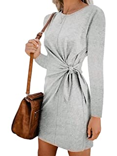 Leepus Vestido de Manga Larga sólido de Mujer de Moda Corbata Nudo ...