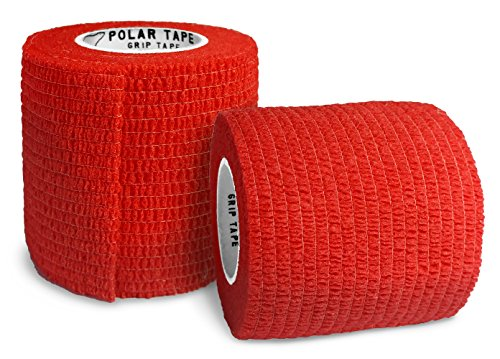 Polar Tape Grip Tape - Perfect for Baseball, Hockey, Lacrosse, Hunting, Fishing, and more - 2 inches x 15 feet Self Adherent Non-Woven Cohesive Grip Tape by (Red, 2 Rolls)