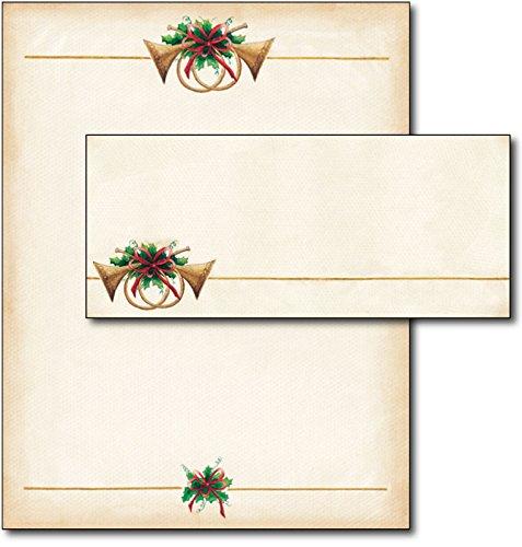 Antique Horns Christmas / Holiday Letterhead & Envelopes - 40 Sets Desktop Publishing Supplies Inc.
