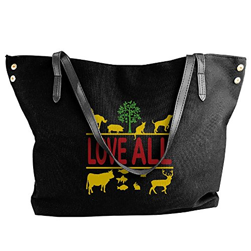 Women's Canvas Large Tote Shoulder Handbag Love All - Vegan Vegetarian Messenger Hobo Bag Tote by Cotyou-6