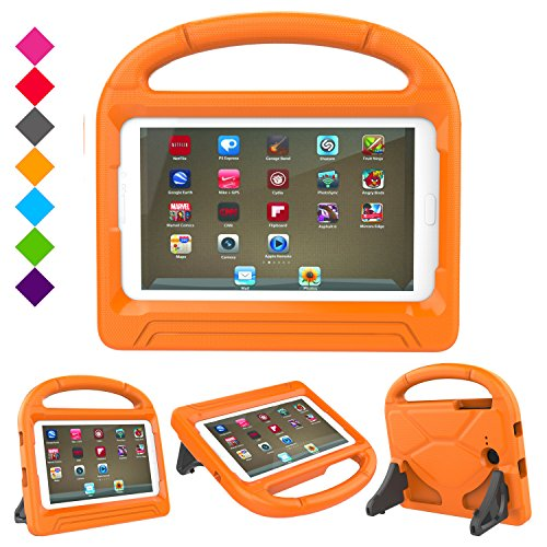 Case for Samsung Galaxy Tab E Lite 7.0 inch- Dinines Kids Case Light Weight Shockproof Protective Cover Handle Stand Case for Samung SM-T113 / Tab 3 Lite 7.0 SM-T110 / SM-T111 7-Inch Tablet (Orange)
