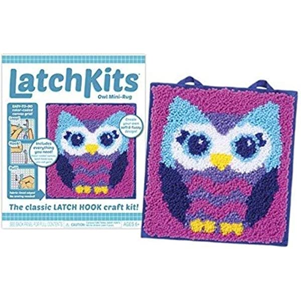 Everything included Owl Printed Canvas Latch Hook Rug Kit Rug Making