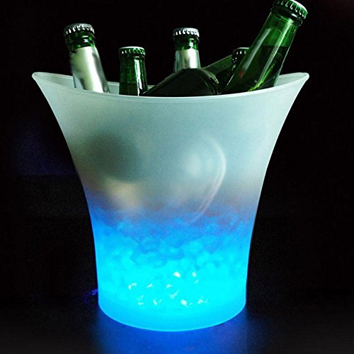 Electronic Ice Bucket (Aoile 5L Glowing LED Ice Bucket Blue Light Champagne Wine Drink Beer Ice Cooler for KTV Party Bar)
