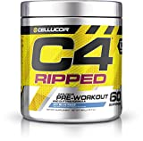 Cellucor C4 Ripped Pre Workout Powder Energy Drink + Fat Burner, Fat Burners for Men & Women, Weight Loss, Icy Blue Razz, 60 Servings