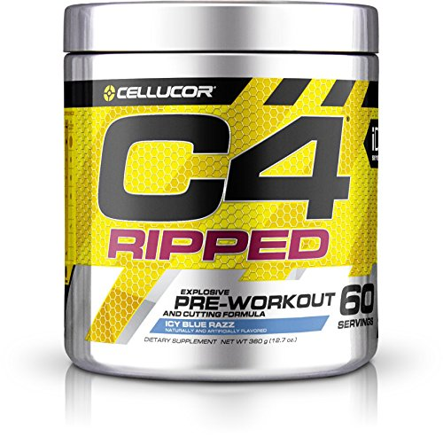 Cellucor C4 Ripped Pre Workout Powder Energy Drink + Fat Burner, Fat Burners for Men & Women, Weight Loss, Icy Blue Razz, 60 Servings by Cellucor