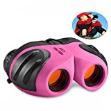 TOP Gift Toys for 3-12 Year Old Girls, Compact Binocular for Kids Gifts for Teen Girl Birthday Presents Easter Gifts Pink TG010