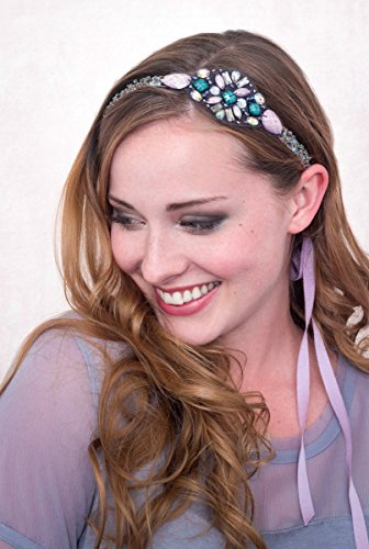 Trim Millinery (Sophie Beaded Headband Lavender And Turquoise)