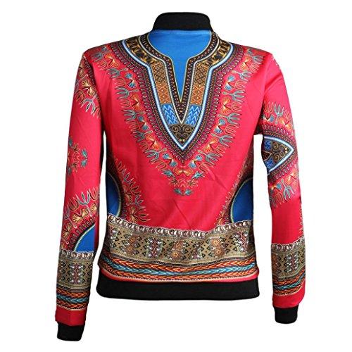 Kulywon Women African Print Long Sleeve Dashiki Short Jacket (L, Hot Pink) by Kulywon (Image #3)