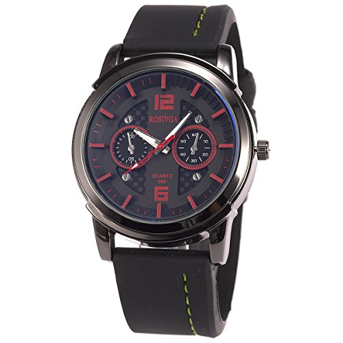 SIBOSUN Military Wrist Watches Big Dial Sport Watch for Men Waterproof Black Red Silicone Band Oversized