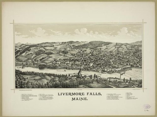 Photo: Livermore Falls,Maine,May 20,c 1889,birds eye view of city,information on city