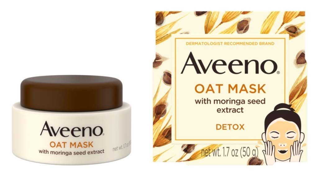 Aveeno Oat Mask With Moringa Seed Extract 1.7 Ounce Jar (Pack of 2)