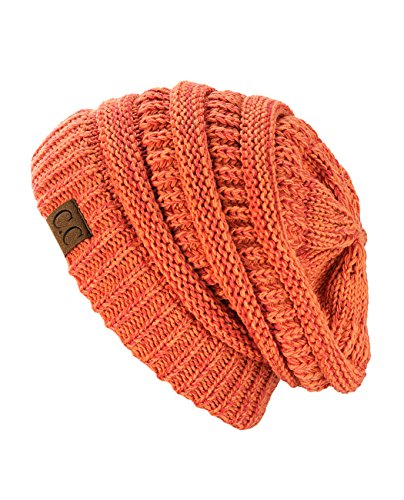(C.C Trendy Warm Chunky Soft Stretch Cable Knit Beanie Skully, 2 Tone Peach)