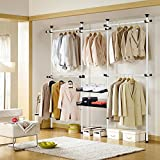Portable Indoor Garment Rack Tools-free DIY Coat Hanger Clothes Wardrobe 4 Poles 5 Bars 2 Trays. Heavy Duty Steel Poles and Bars. 60kg Loading per Bar. Space Fit and Saver.[3205BC2]