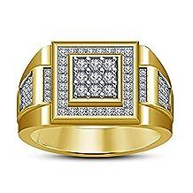 Araska Diamond Men's Engagement & Wedding Ring 10k Yellow Gold Fn In 0.69 CTW White Cz Size 10