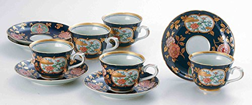 TOKYO MATCHA SELECTION - [Heritage] Imari : Old Imari Design Golden Floral - 5 Coffee Cups & Saucers Set - Japanese Porcelain w Box from Japan [Standard ship by EMS: with Tracking & (Imari Coffee Saucer)