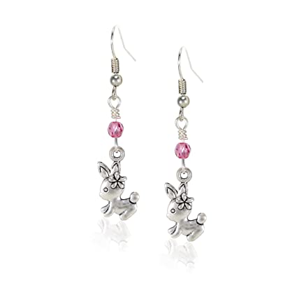 2cb31214a Amazon.com: fidaShop Handcrafted Silvertone Cute Rabbit Bunny Easter Charm  Dangle Earrings with Swarovski Crystals: Toys & Games