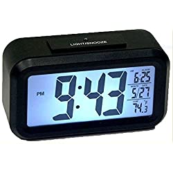 Ken Tech 1.5 LCD Number Alarm Clock w/ Light Sensor Black T-4451
