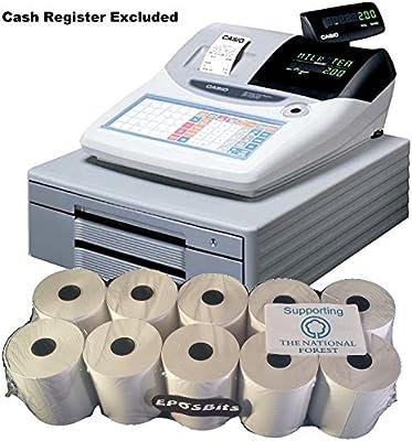 eposbits® marca rollos para que se ajuste a Casio TK-T200 TKT200 TK T200 TKT-200 caja registradora TKT 200 – 10 rollos: Amazon.es: Oficina y papelería