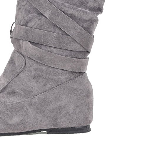 AllhqFashion Womens Solid Imitated Suede Low-Heels Pull-on Round Closed Toe Boots Gray WqFBsbU1pd
