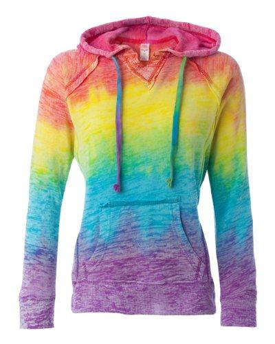 MV Sport W1162 Women's Courtney Burnout V-Notch Sweatshirt Rainbow Stripe (Burnout Pullover)
