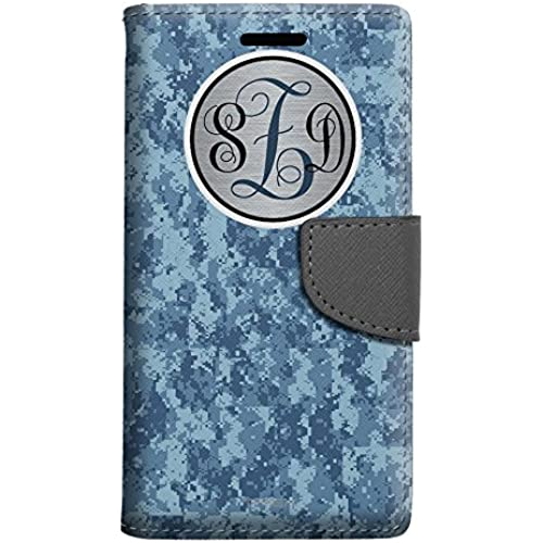 Monogram Samsung Galaxy S7 Edge Wallet Case - Camo Digital Blue Sales