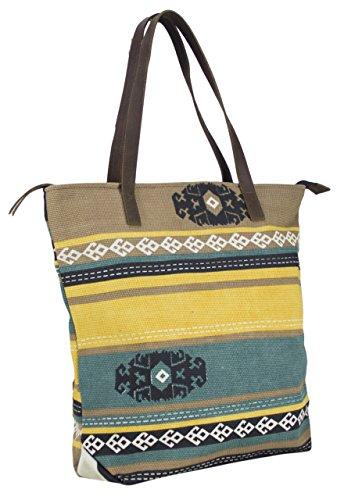 Sunsa Damen Shopper Schultertasche Handtasche aus Canvas 43x40x12 cm