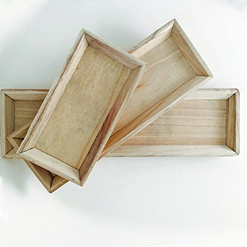 The Set of 3 Farm House Style Trays, All Natural Wood, From 11 3/4 to 21 5/8