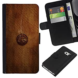 NEECELL GIFT forCITY // Billetera de cuero Caso Cubierta de protección Carcasa / Leather Wallet Case for Samsung Galaxy S6 EDGE // C Madera
