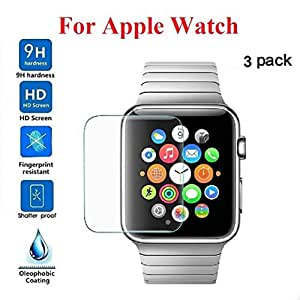 [3-PACK] Boofab for Apple Watch Screen Protector 38mm (Series 3/2/1) [Active Protection] Sport Flexible HD Crystal Clear Anti-Bubble Film (38mm)