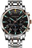 Men's Complications Automatic Mechanical Watch Military Tritium Gas Super Bright Blue or Green Luminous (Rose Gold Black)