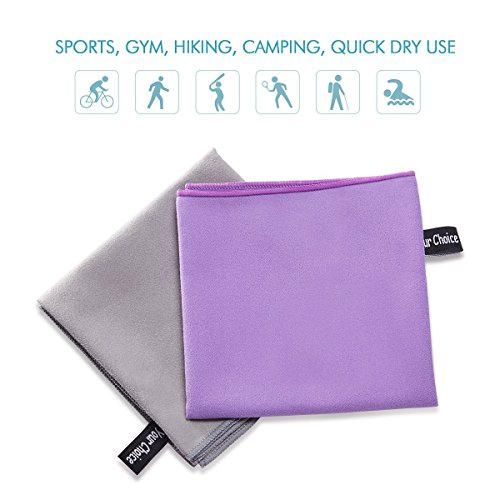 Your Choice 2 Pack Microfiber Travel Sports Camping Hiking Swim Workout Towels Ultra Compact Lightweight Fast Drying Towels Purple and Grey