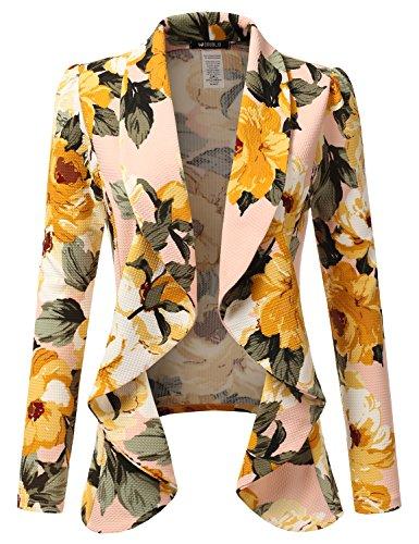 Doublju Classic Draped Open Front Blazer For Women With Plus Size MAUVE MEDIUM