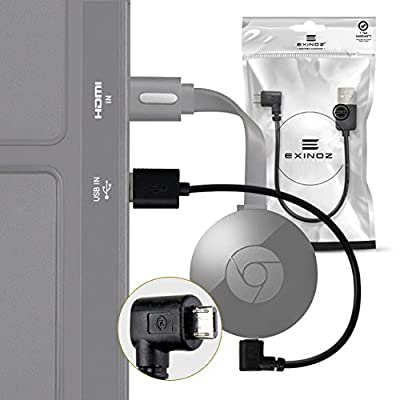 Chromecast USB Power Cable (Does NOT include Chromecast Device) -- Short Power Cable Designed to Power Your Google Chromecast HDMI Streaming Media Player from Your TV USB Port