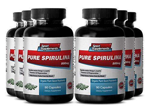 Organic Spirulina Capsules - Pure Spirulina 500mg - Boost Energy and Immune System with Natural Herbal Spirulina Supplement (6 Bottles 540 Capsules) by Sport Supplement
