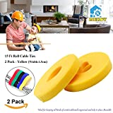 15ft Cable Tie, Mekov, Cuttable & Reusable Nylon Fastening Cable Ties 15mm Width Cord Wire Organizer for Home Office Tablet PC TV Wire Management (2 Roll, Total: 30ft, Yellow)
