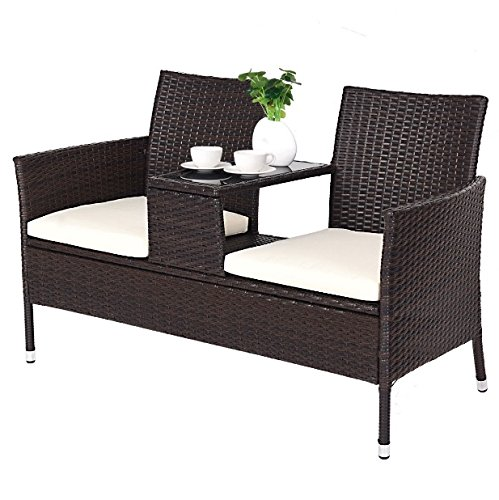 2 Seats Conjoined Design PE Rattan Chair Glass Top Tea Table Soft Comfortable Padded Cushion Loveseat Sofa Set Durable Sturdy Steel Tube Construction Patio Lawn Garden Backyard Pool Side Furniture
