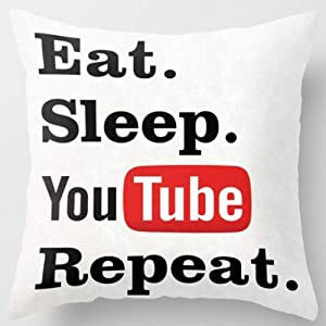 HomeTow Eat Sleep YouTube Repeat Throw Pillowcases Pillowcovers Cushion Covers 18x18inch Funny Decor Removable Two Side Invisible Zipper Color:Eat Sleep YouTube Repeat
