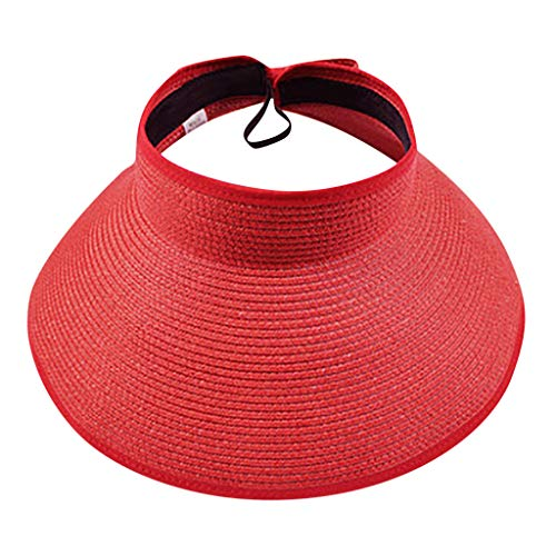 - Riverdalin Summer Straw Hat for Women Men Sun Protection Beach Bucket Hat Foldable Visors for Holiday (Red)