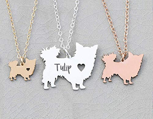 Long Haired Chihuahua Dog Necklace - IBD - Chi- Personalize Name Date - Pendant Size Options - 935 Sterling Silver 14K Rose Gold Filled Charm - Fast 1 Day Production