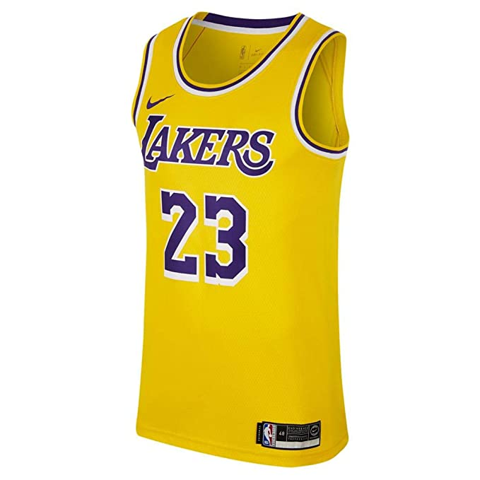finest selection b75ef 38752 Nike Mens Los Angeles Lakers Lebron James 2018-19 NBA Swingman Gold Jersey  100% Authentic