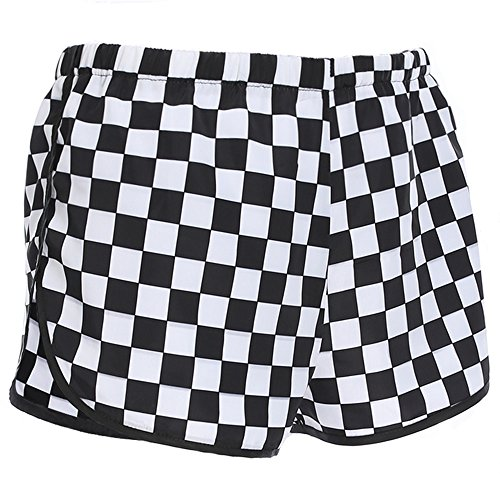 Checkered High Waisted Casual Loose Checkerboard Shorts Women Plaid Split Short Pants (S) -