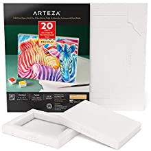 Arteza Watercolor Art Paper Foldable Canvas Pad, 5x6.6 Inches, 20 Sheets, DIY Frame, Heavyweight Canvas Paper, 140 lb, 300 GSM, Acid-Free, Wood Pulp Canvas Pad for Painting & Mixed Media Art