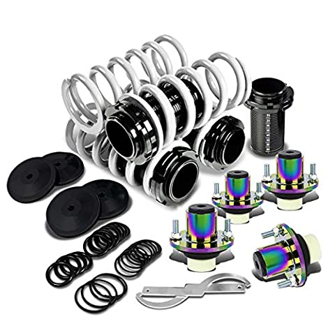 Civic/Del Sol/Integra Black Scaled Sleeve White Coilover+Neo Chrome Top Hat Mounting Kit - 0 White Camber