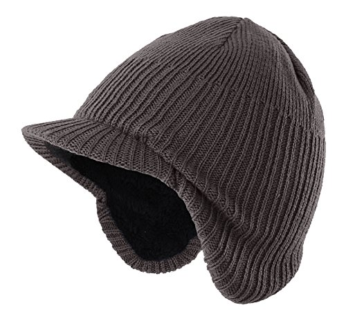 Home Prefer Toddler Boys Winter Hat Warm Kids Knitted Hat with Visor Earflaps Hat Gray Medium by Home Prefer