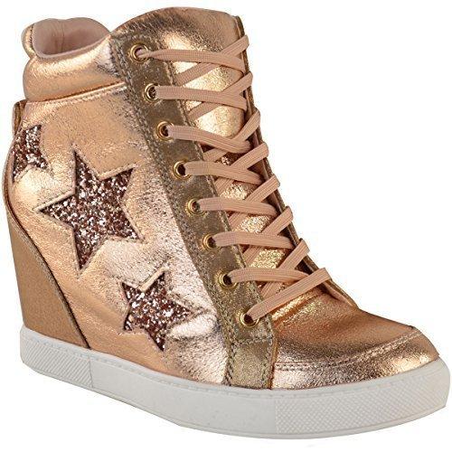 Oculta Met Talla Fashion Thirsty Oro Mujer Top Cordones Zapatos a Rosa High Brillantes Zapatillas con Cu Zapatillas gqISarq