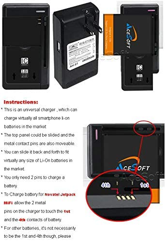 40115131.01 P//N New 4300 mAh Replacement Battery /& Universal USB Charger for Novatel Jetpack MiFi 6630 Hotspot 2Battery + 1Charger